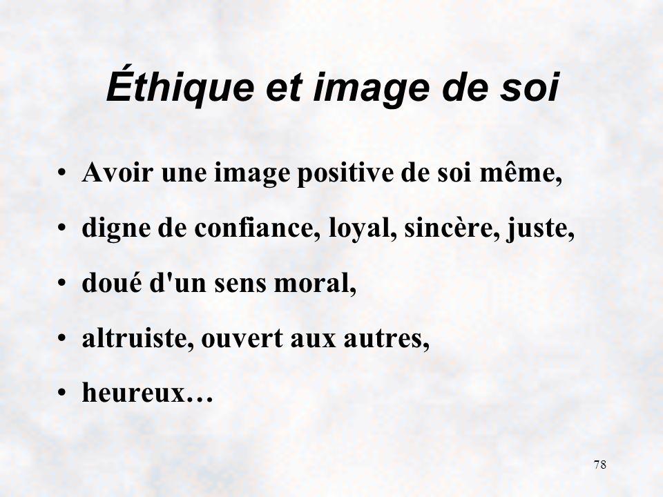 Éthique et image de soi Avoir une image positive de soi même,
