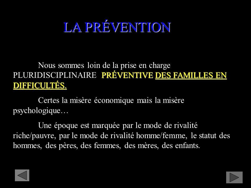 LA PRÉVENTION Nous sommes loin de la prise en charge PLURIDISCIPLINAIRE PRÉVENTIVE DES FAMILLES EN DIFFICULTÉS.
