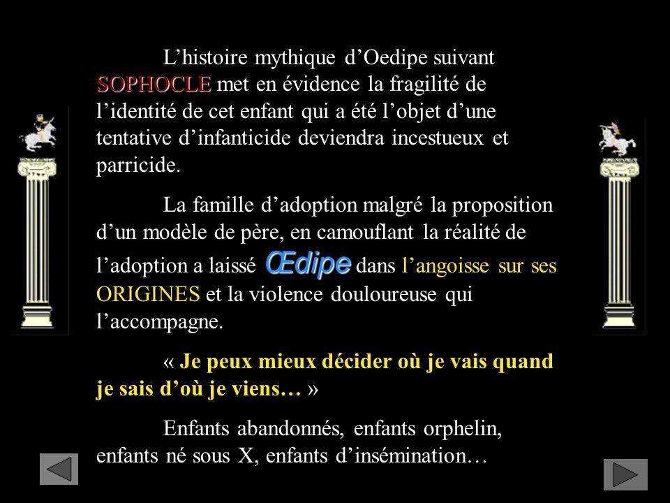 L'histoire mythique d'Oedipe suivant SOPHOCLE met en évidence la fragilité de l'identité de cet enfant qui a été l'objet d'une tentative d'infanticide deviendra incestueux et parricide.