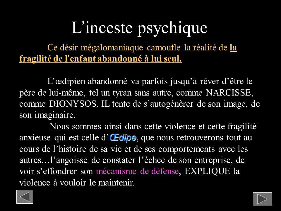 L'inceste psychique Ce désir mégalomaniaque camoufle la réalité de la fragilité de l'enfant abandonné à lui seul.