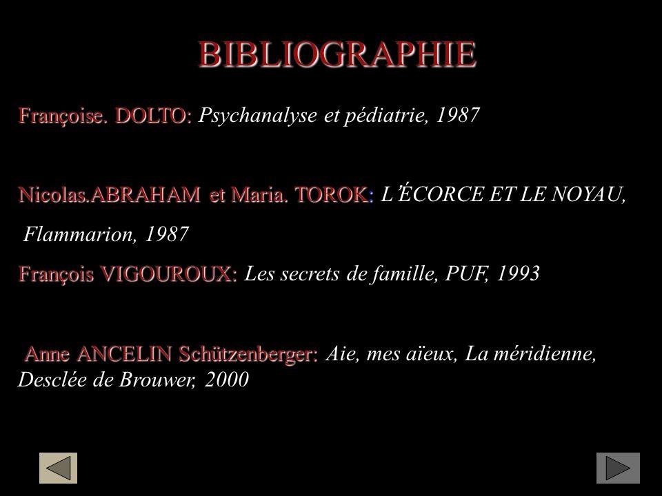 BIBLIOGRAPHIE Françoise. DOLTO: Psychanalyse et pédiatrie, 1987