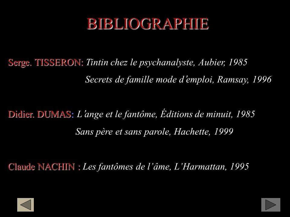 BIBLIOGRAPHIE Serge. TISSERON: Tintin chez le psychanalyste, Aubier, 1985. Secrets de famille mode d'emploi, Ramsay, 1996.