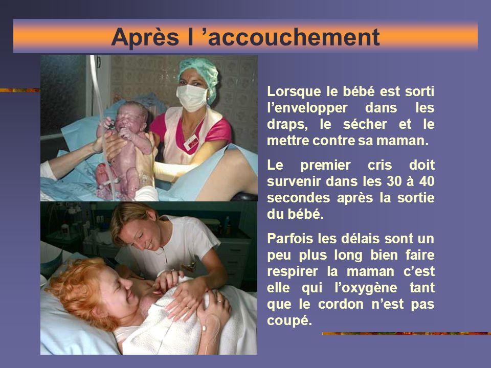 Après l 'accouchement Lorsque le bébé est sorti l'envelopper dans les draps, le sécher et le mettre contre sa maman.