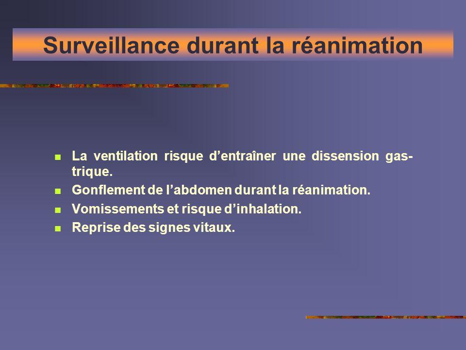 Surveillance durant la réanimation