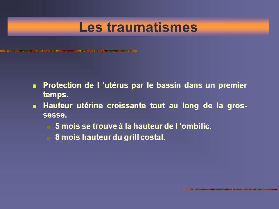 Les traumatismes Protection de l 'utérus par le bassin dans un premier temps. Hauteur utérine croissante tout au long de la gros-sesse.