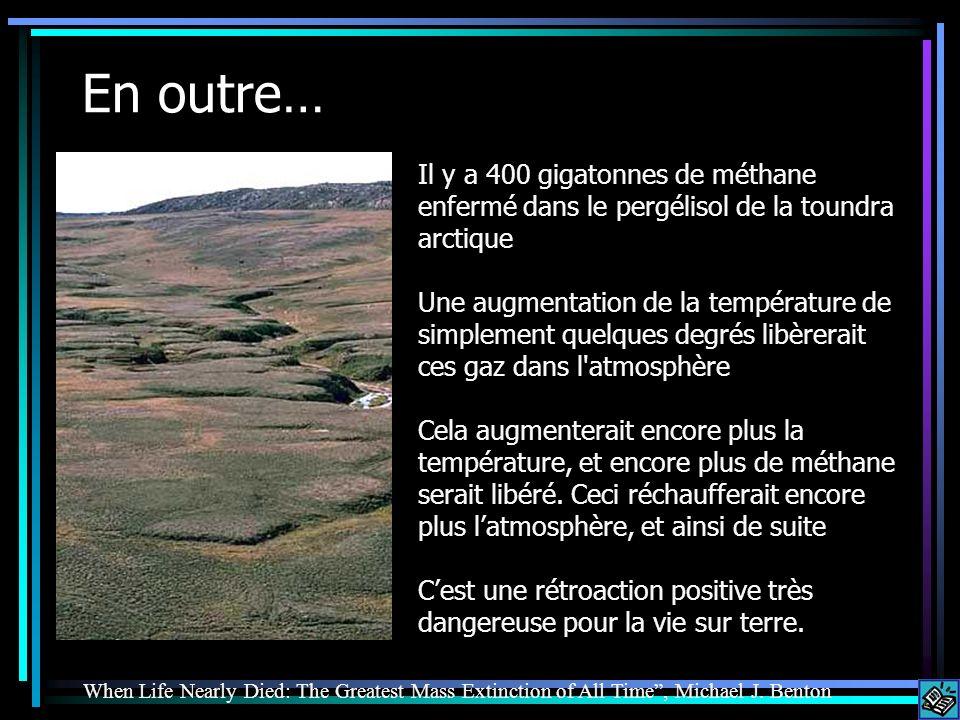 En outre… Il y a 400 gigatonnes de méthane enfermé dans le pergélisol de la toundra arctique.