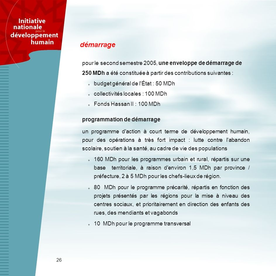 démarrage pour le second semestre 2005, une enveloppe de démarrage de 250 MDh a été constituée à partir des contributions suivantes :