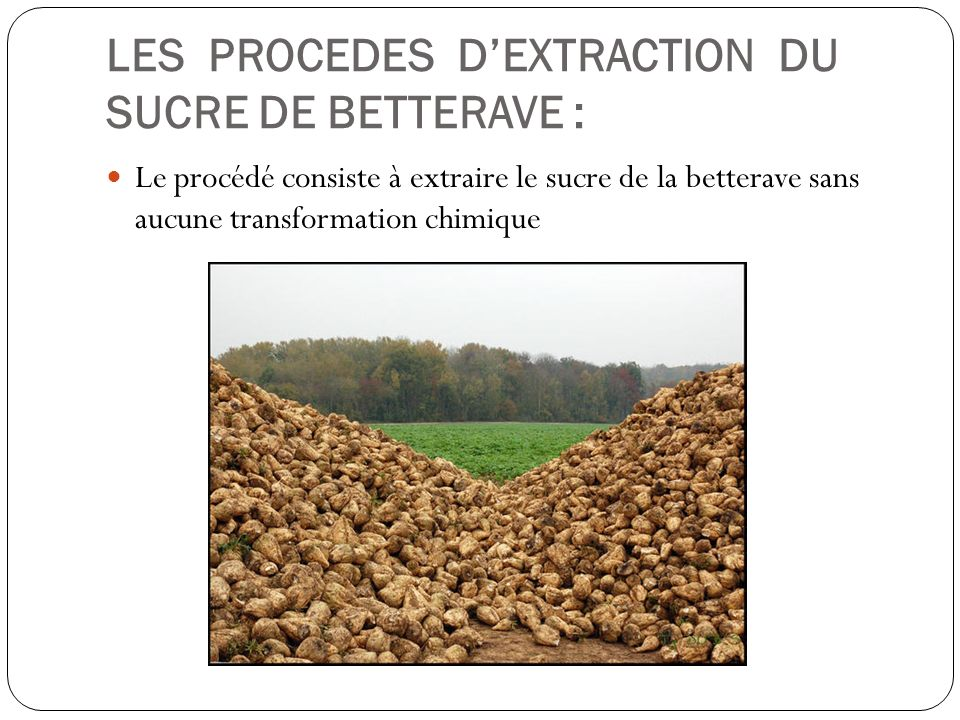 LES PROCEDES D'EXTRACTION DU SUCRE DE BETTERAVE :