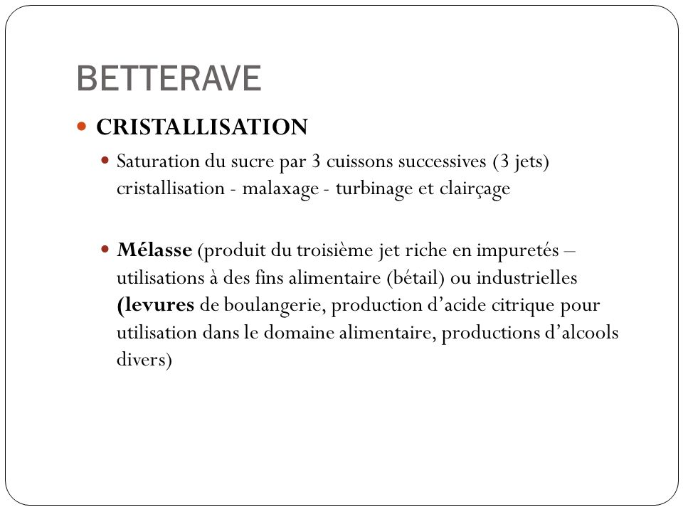 BETTERAVE CRISTALLISATION