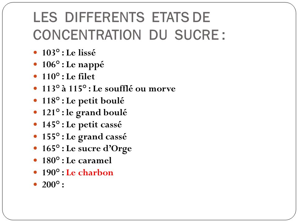 LES DIFFERENTS ETATS DE CONCENTRATION DU SUCRE :