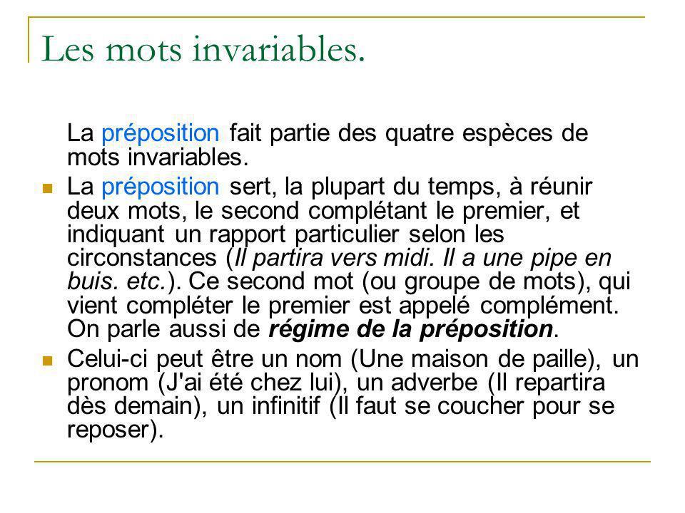 Les mots invariables. La préposition fait partie des quatre espèces de mots invariables.