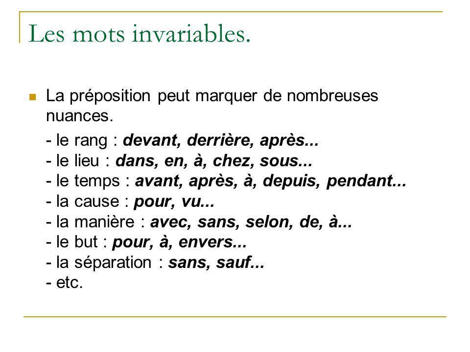 Les mots invariables. La préposition peut marquer de nombreuses nuances.