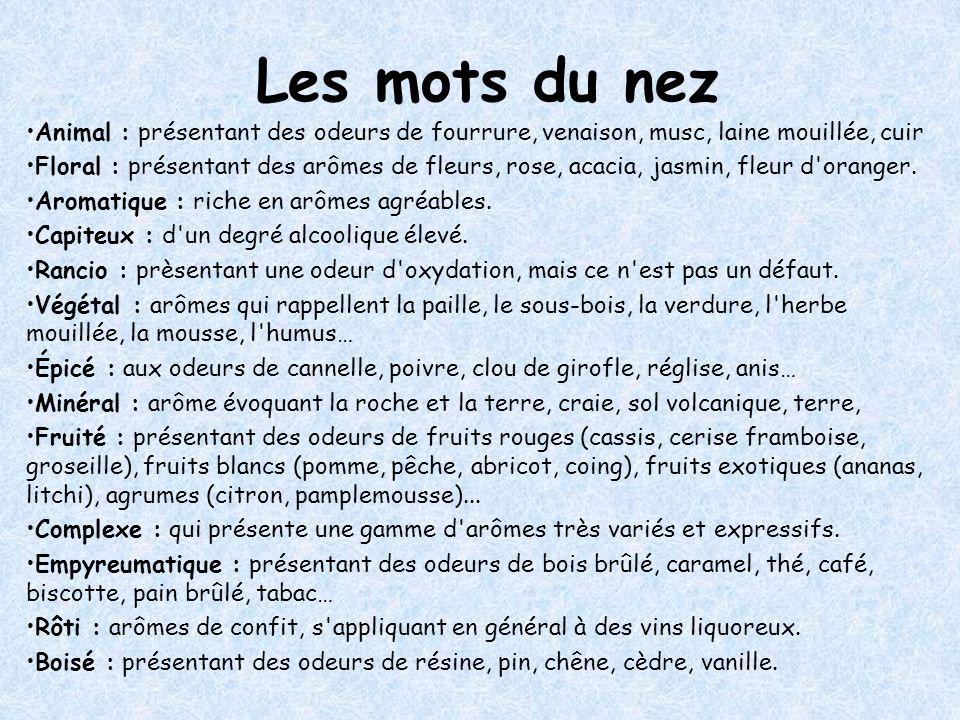 Les mots du nez Animal : présentant des odeurs de fourrure, venaison, musc, laine mouillée, cuir.
