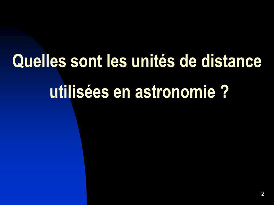 Quelles sont les unités de distance utilisées en astronomie