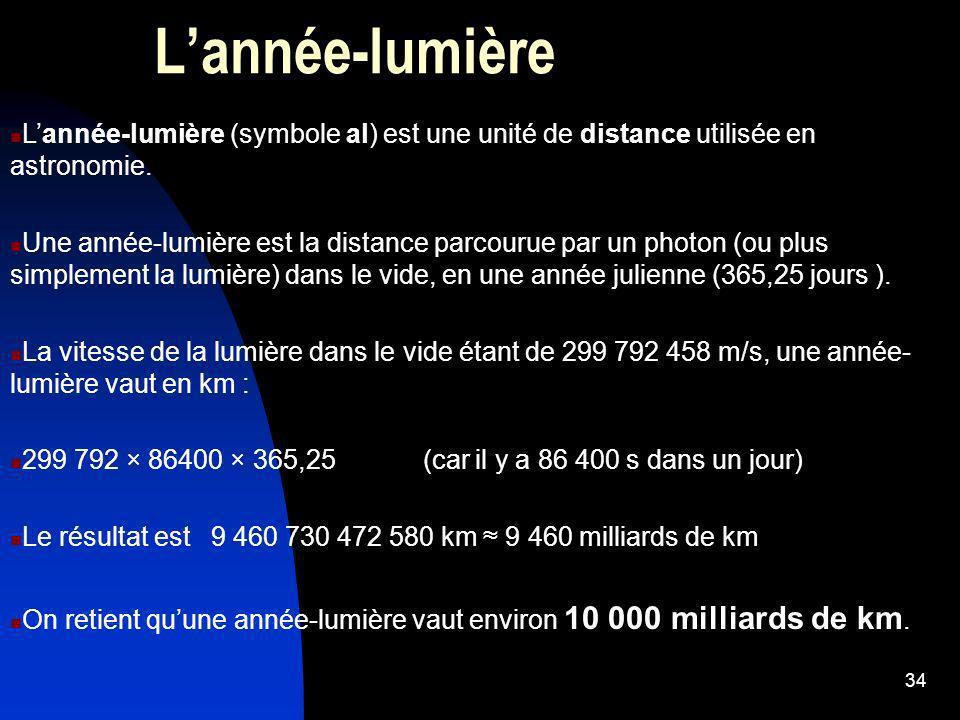 L'année-lumière L'année-lumière (symbole al) est une unité de distance utilisée en astronomie.