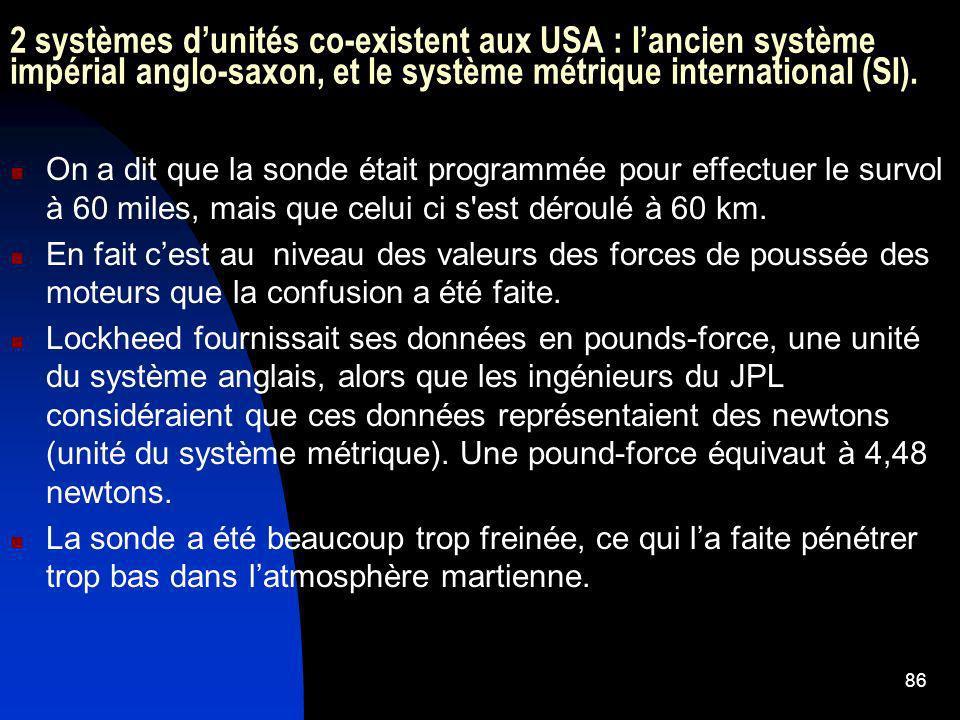 2 systèmes d'unités co-existent aux USA : l'ancien système impérial anglo-saxon, et le système métrique international (SI).