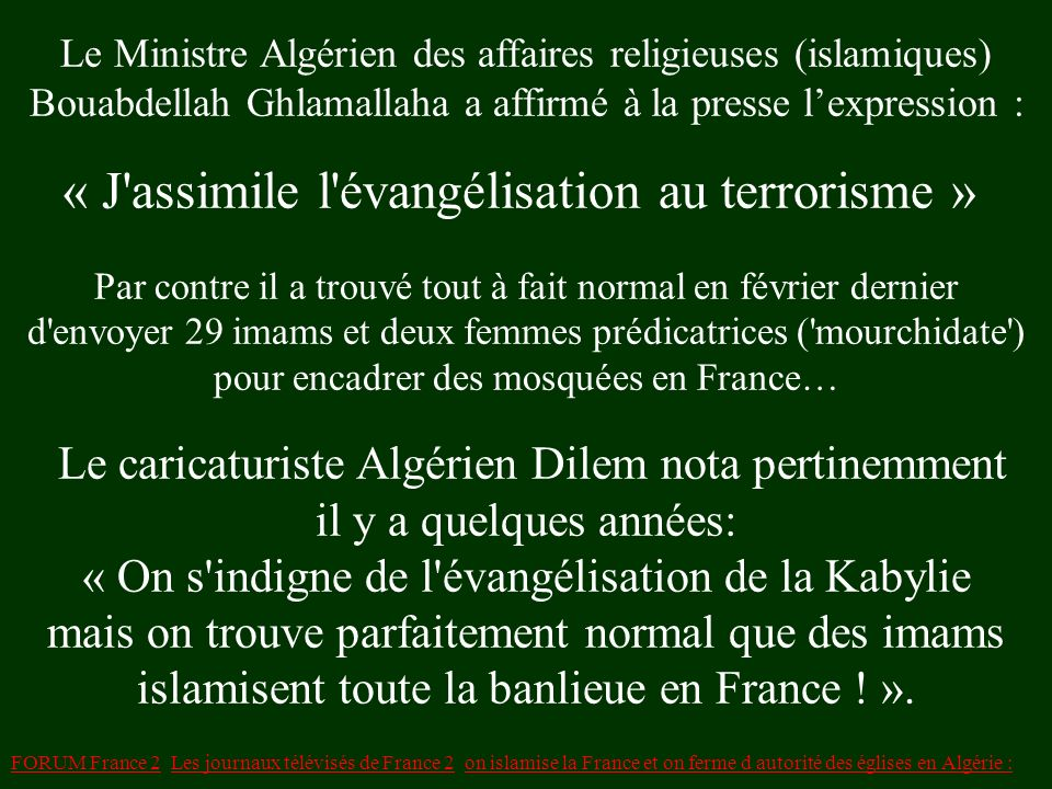 Le Ministre Algérien des affaires religieuses (islamiques)
