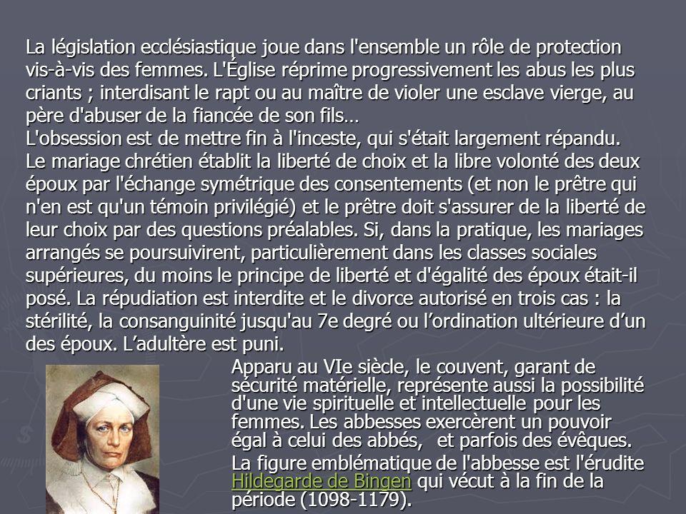 La législation ecclésiastique joue dans l ensemble un rôle de protection