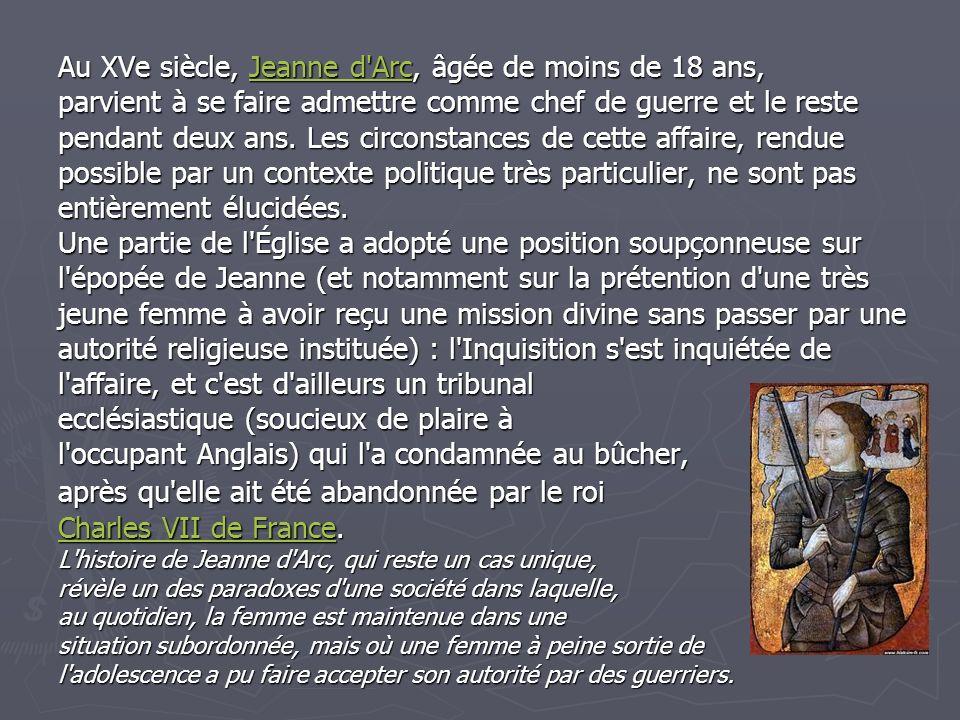 Au XVe siècle, Jeanne d Arc, âgée de moins de 18 ans,