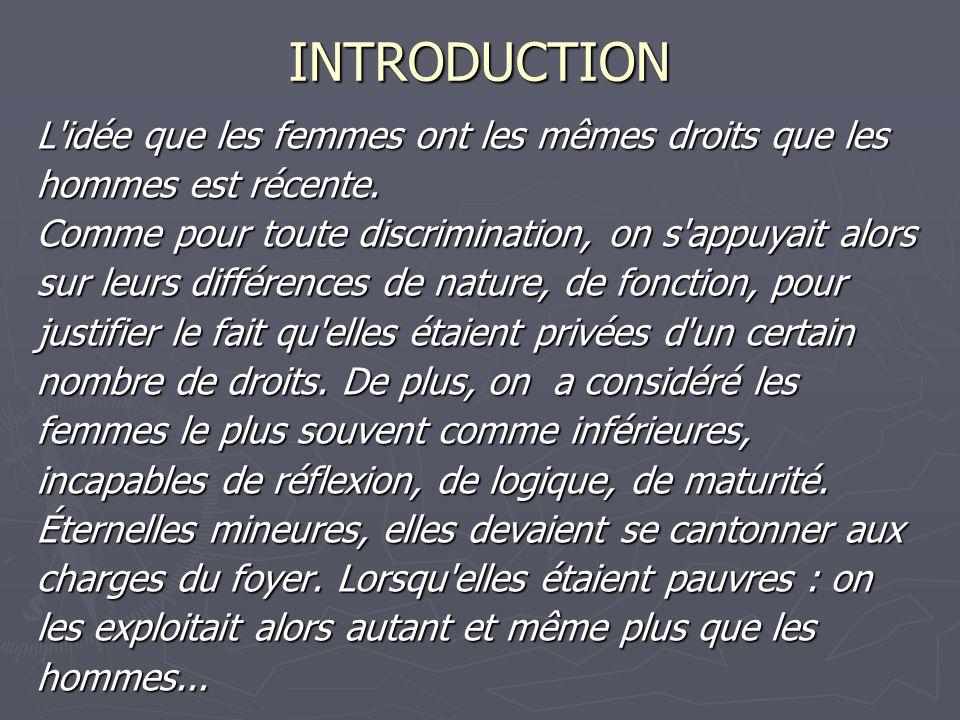 INTRODUCTION L idée que les femmes ont les mêmes droits que les
