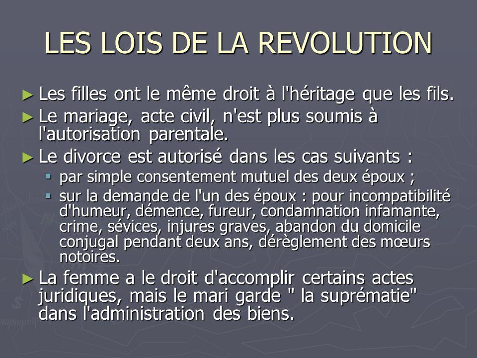LES LOIS DE LA REVOLUTION