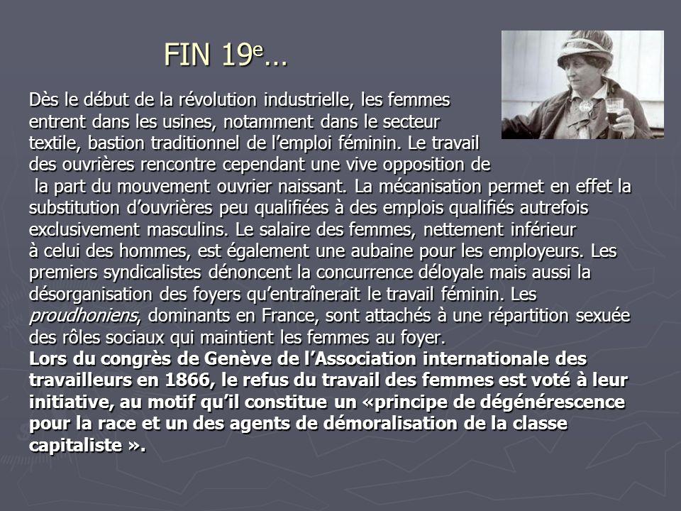 FIN 19e… Dès le début de la révolution industrielle, les femmes