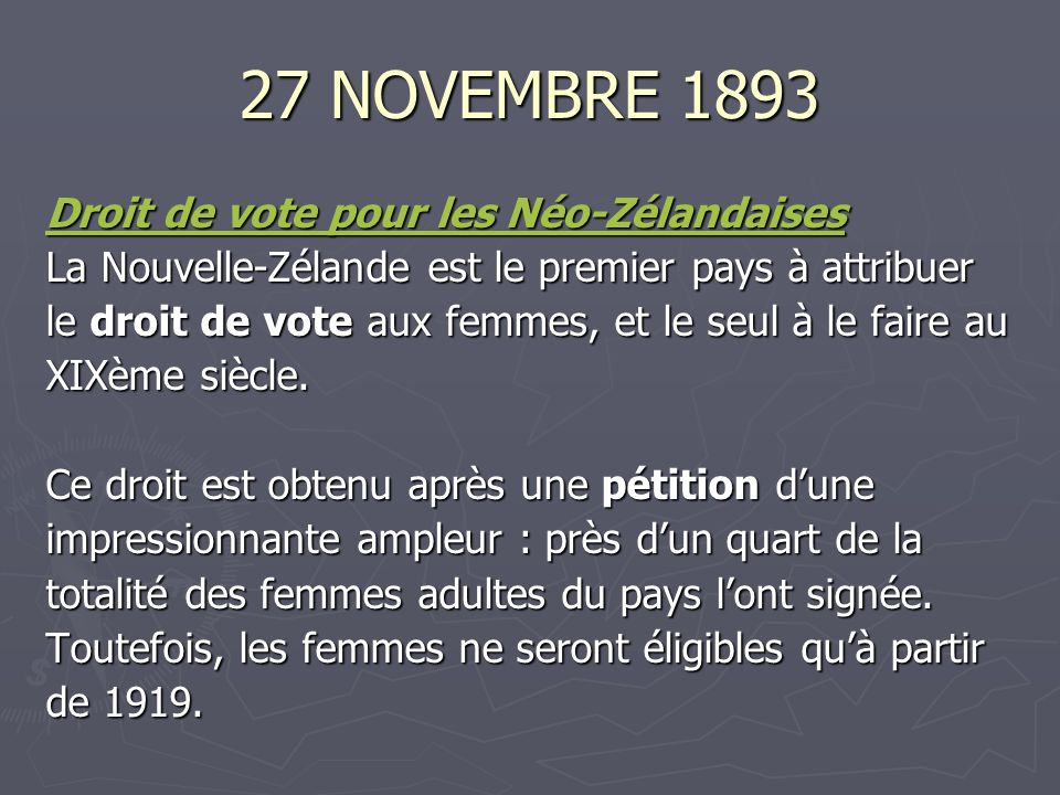 27 NOVEMBRE 1893 Droit de vote pour les Néo-Zélandaises