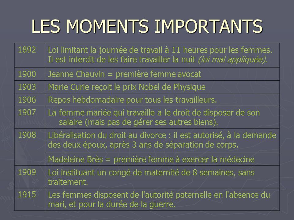 LES MOMENTS IMPORTANTS