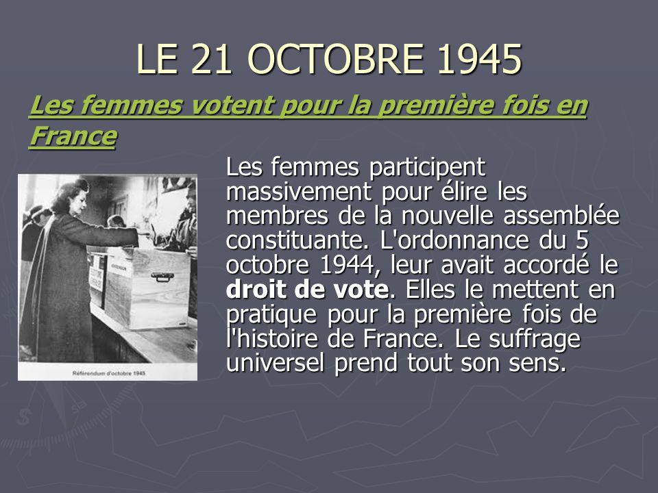 LE 21 OCTOBRE 1945 Les femmes votent pour la première fois en France