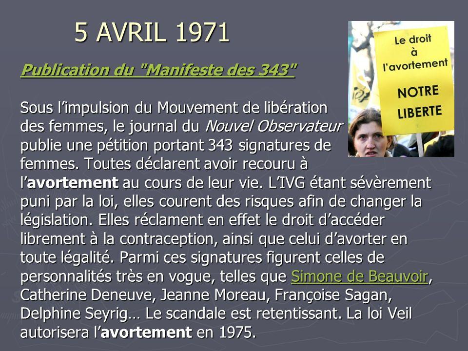 5 AVRIL 1971 Publication du Manifeste des 343