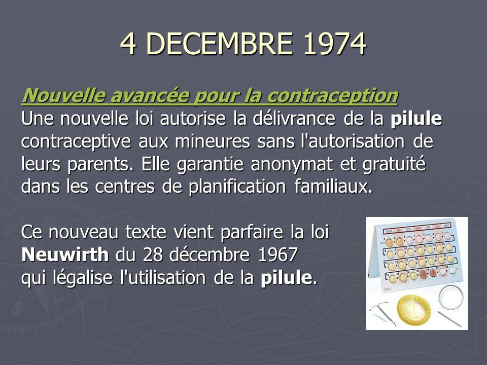 4 DECEMBRE 1974 Nouvelle avancée pour la contraception