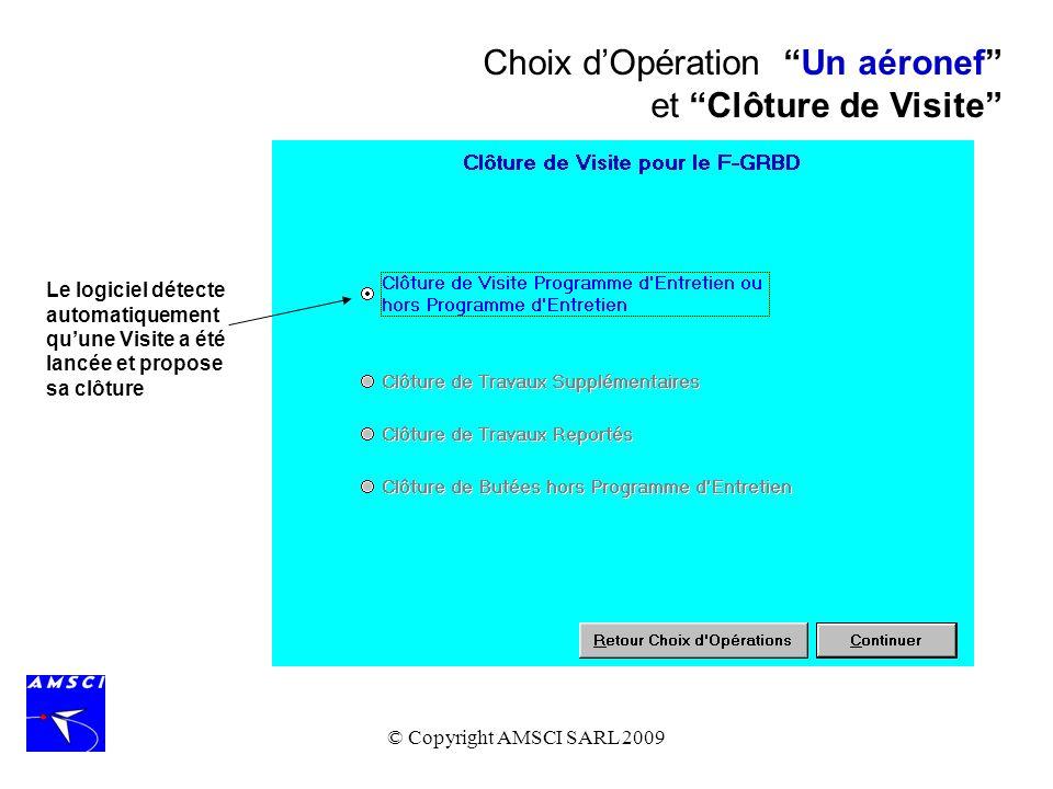 Choix d'Opération Un aéronef et Clôture de Visite