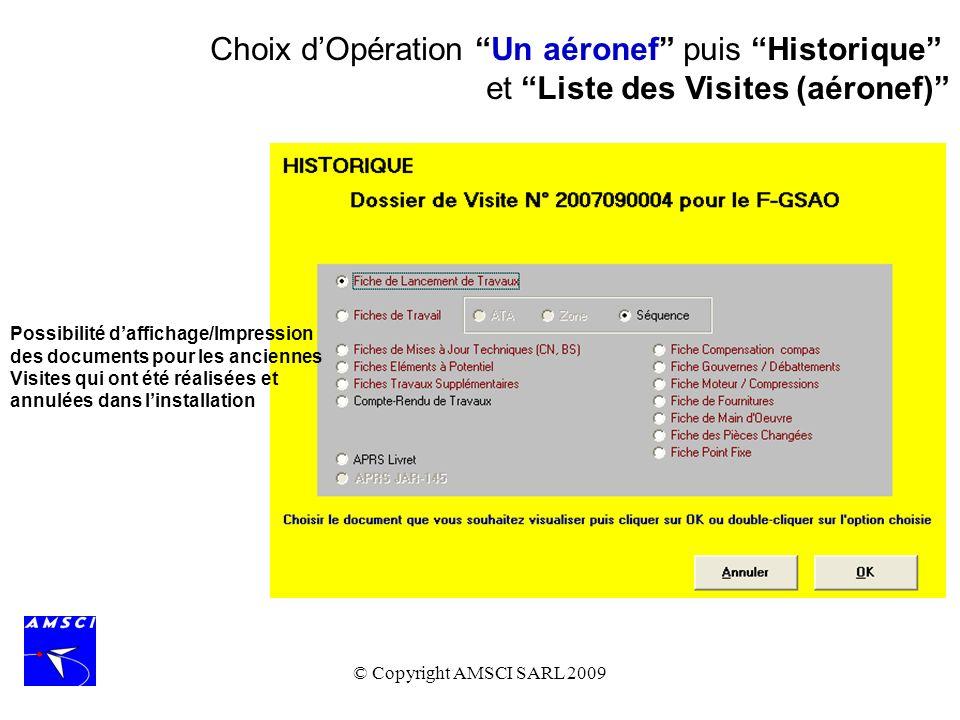 Choix d'Opération Un aéronef puis Historique