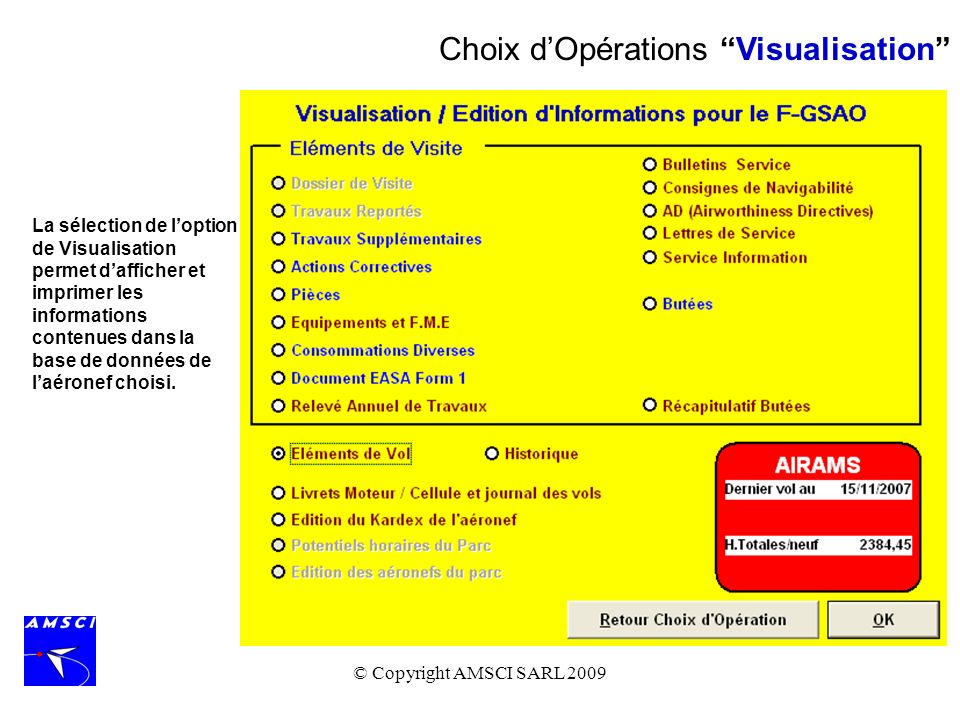 Choix d'Opérations Visualisation