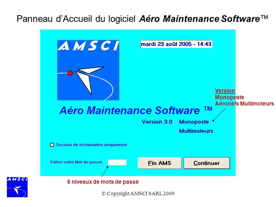 Panneau d'Accueil du logiciel Aéro Maintenance Software™