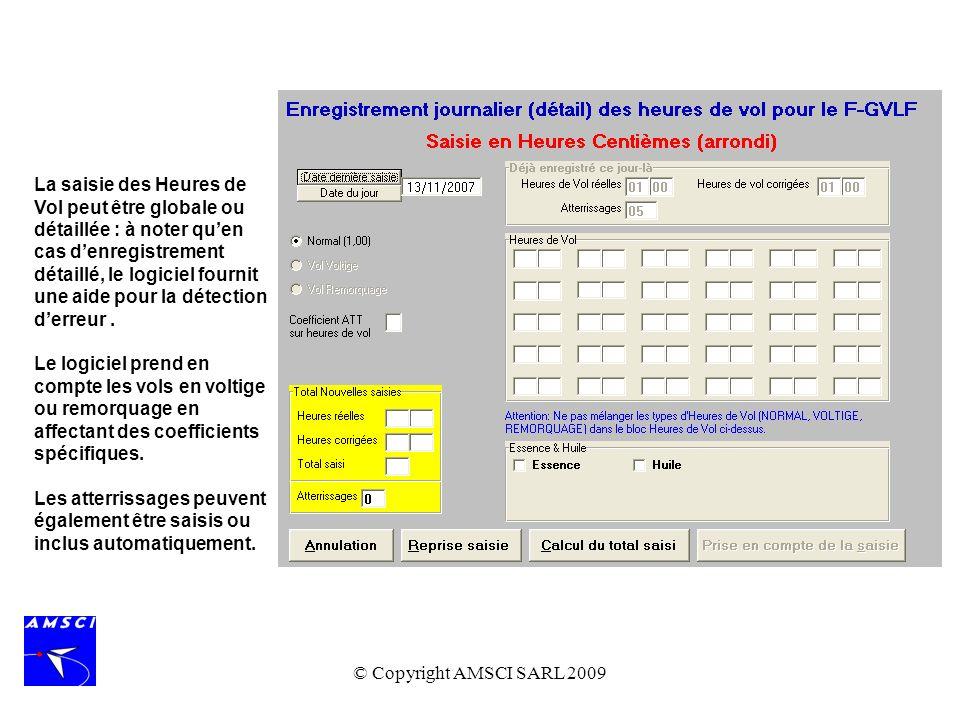 La saisie des Heures de Vol peut être globale ou détaillée : à noter qu'en cas d'enregistrement détaillé, le logiciel fournit une aide pour la détection d'erreur .