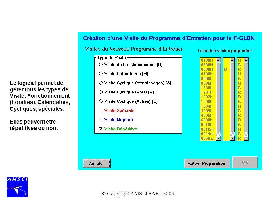 Le logiciel permet de gérer tous les types de Visite: Fonctionnement (horaires), Calendaires, Cycliques, spéciales.