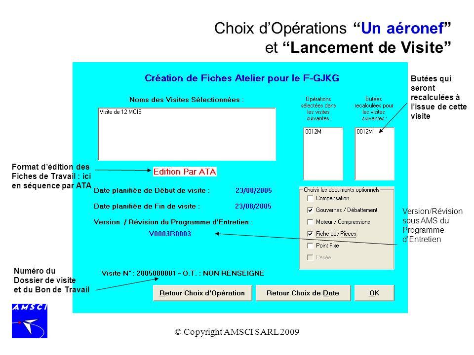 Choix d'Opérations Un aéronef et Lancement de Visite