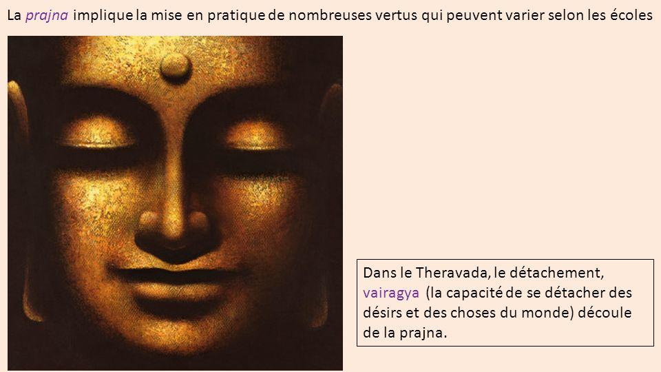La prajna implique la mise en pratique de nombreuses vertus qui peuvent varier selon les écoles