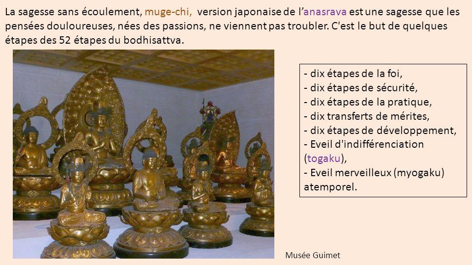 La sagesse sans écoulement, muge-chi, version japonaise de l'anasrava est une sagesse que les pensées douloureuses, nées des passions, ne viennent pas troubler. C est le but de quelques étapes des 52 étapes du bodhisattva.