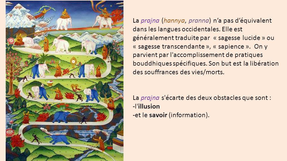 La prajna (hannya, pranna) n'a pas d'équivalent dans les langues occidentales. Elle est généralement traduite par « sagesse lucide » ou « sagesse transcendante », « sapience ». On y parvient par l accomplissement de pratiques bouddhiques spécifiques. Son but est la libération