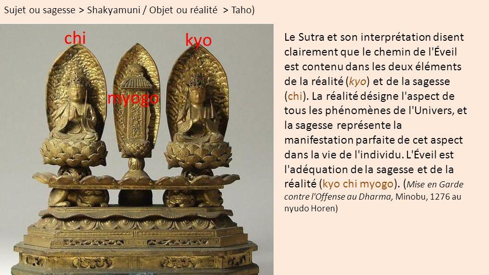Sujet ou sagesse > Shakyamuni / Objet ou réalité > Taho)