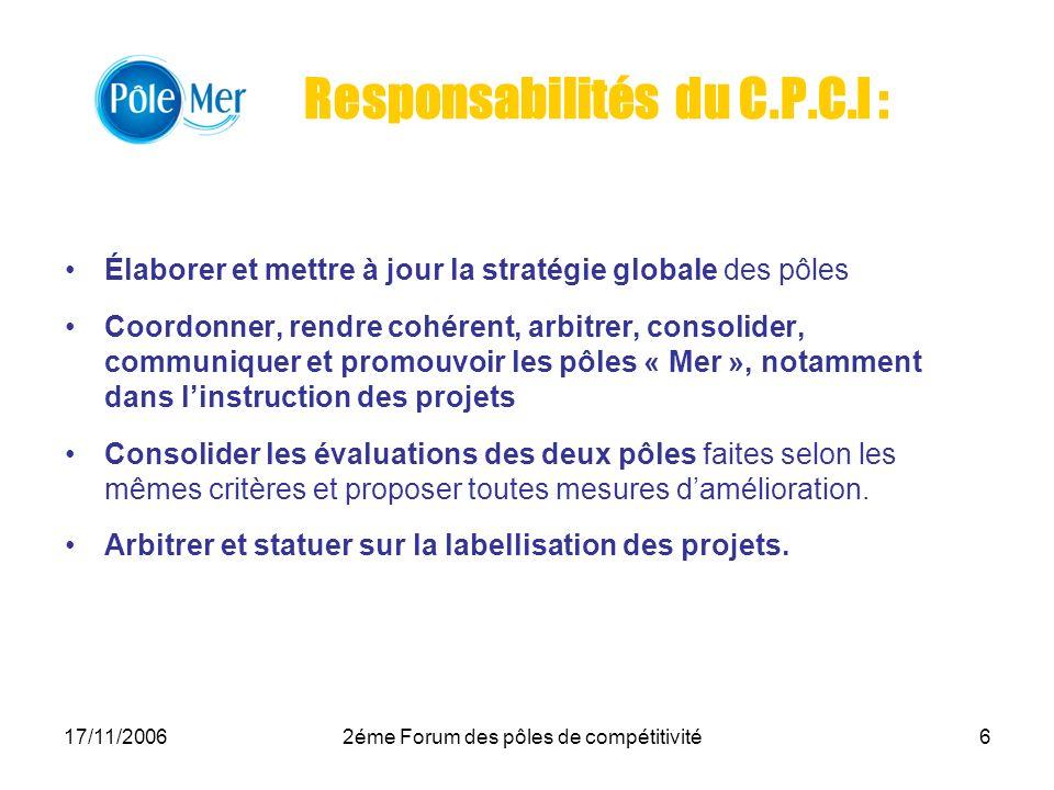 Responsabilités du C.P.C.I :