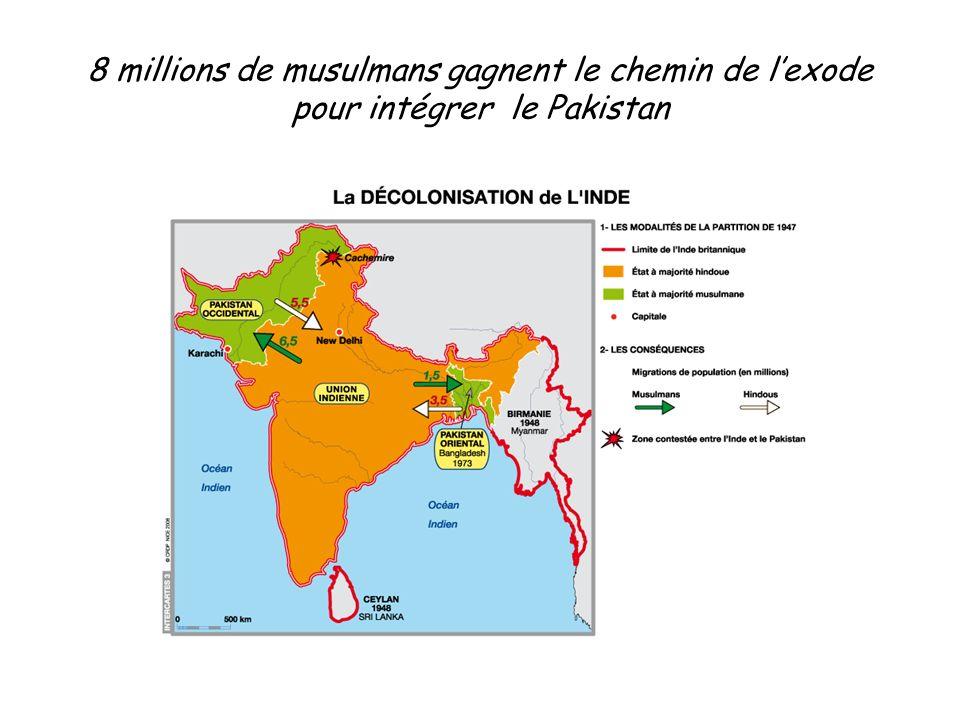 8 millions de musulmans gagnent le chemin de l'exode pour intégrer le Pakistan