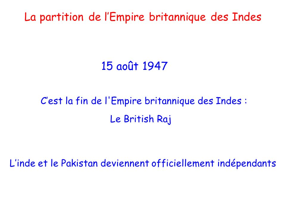 La partition de l'Empire britannique des Indes