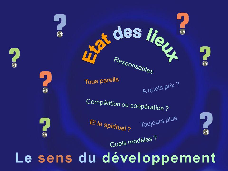 Etat des lieux Le sens du développement Responsables Tous pareils