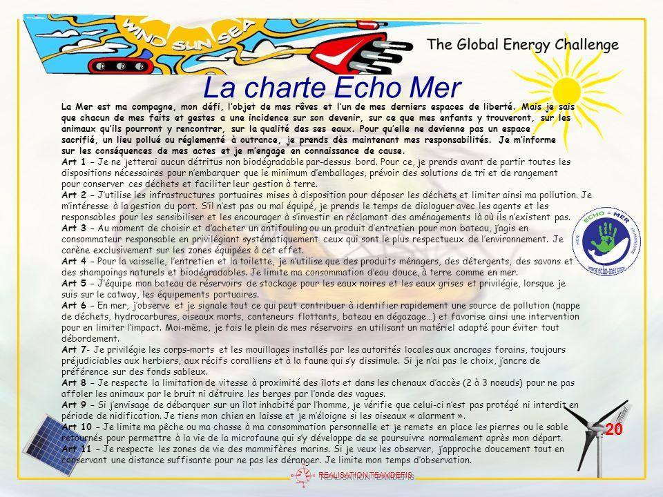 La charte Echo MerLa Mer est ma compagne, mon défi, l'objet de mes rêves et l'un de mes derniers espaces de liberté. Mais je sais.