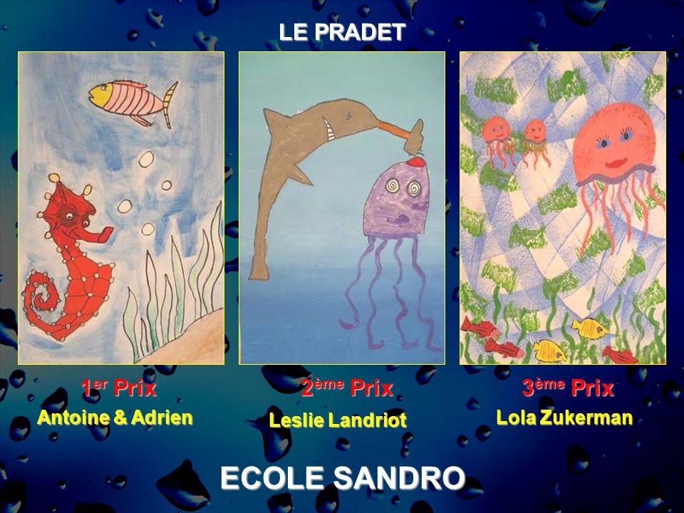 ECOLE SANDRO LE PRADET 1er Prix 2ème Prix 3ème Prix Antoine & Adrien