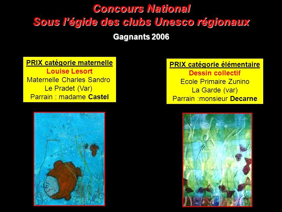 Sous l'égide des clubs Unesco régionaux PRIX catégorie élémentaire