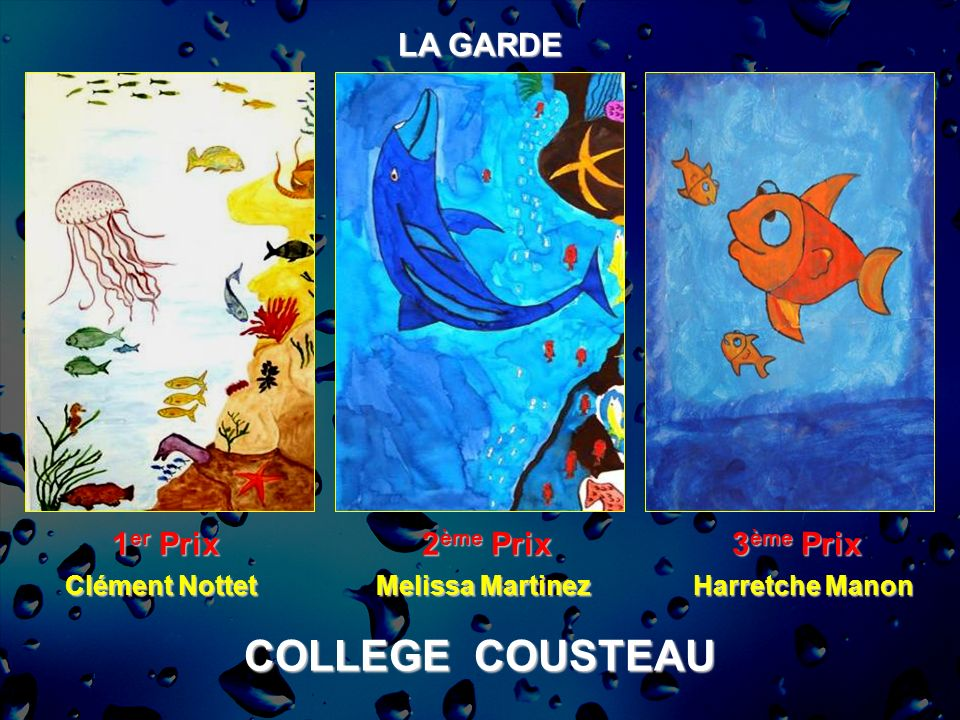 COLLEGE COUSTEAU LA GARDE 1er Prix 2ème Prix 3ème Prix Clément Nottet